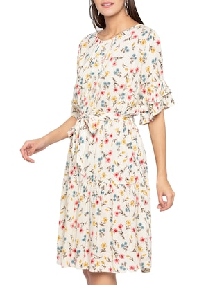 layered sleeve floral belted dress - 15419148 - Standard Image - 2