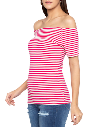 off shoulder striped top - 15419180 - Standard Image - 2