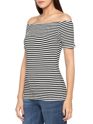 off shoulder striped top - 15419181 - Standard Image - 2