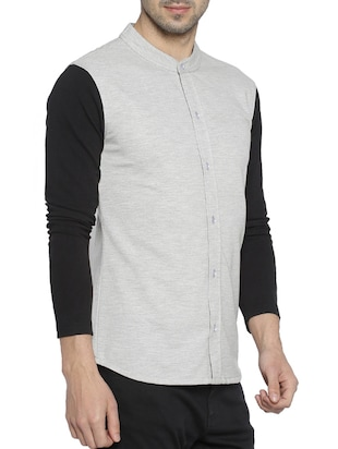 grey cotton casual shirt - 15419455 - Standard Image - 2