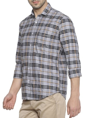grey cotton casual shirt - 15419467 - Standard Image - 2
