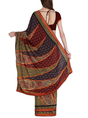 Temple printed saree with blouse - 15419475 - Standard Image - 2