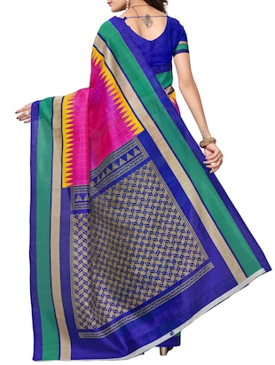 Temple bordered bhagalpuri saree with blouse - 15419898 - Standard Image - 2