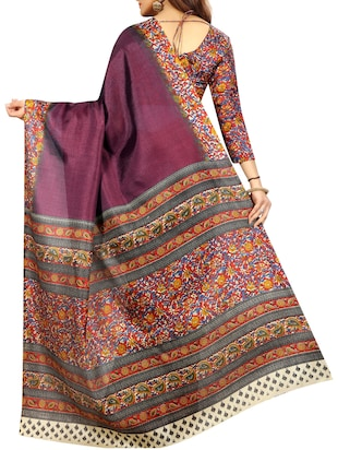 Multicolored pallu bordered saree with blouse - 15419926 - Standard Image - 2