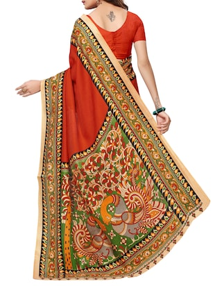Multicolored pallu bordered saree with blouse - 15419932 - Standard Image - 2