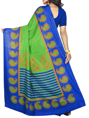 Paisley bordered geometrical saree with blouse - 15419936 - Standard Image - 2