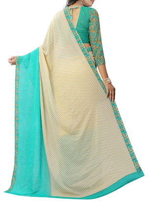 Contrast bordered printed saree with blouse - 15419964 - Standard Image - 2