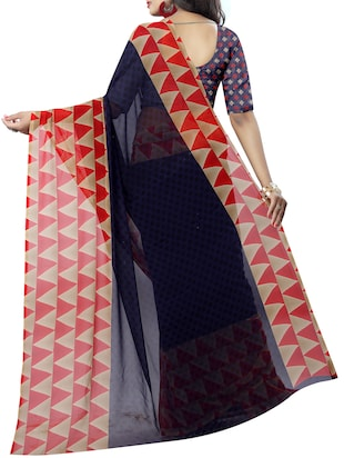 Temple bordered printed saree with blouse - 15419975 - Standard Image - 2