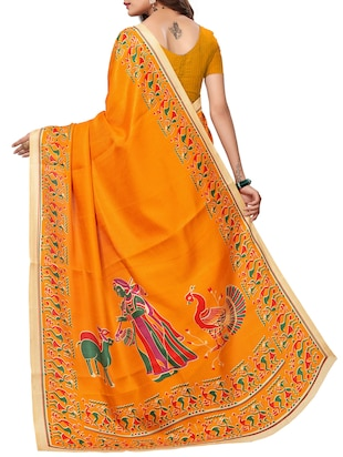 Conversational bordered saree with blouse - 15420165 - Standard Image - 2