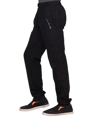black cotton  full length track pant - 15420196 - Standard Image - 2