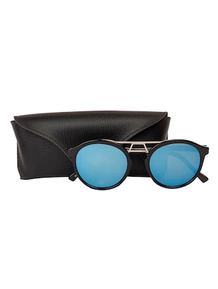 Arzonai Round Black-Blue Mirrored UV Protection Sunglasses [MA-395-S3 ] - 15420478 - Standard Image - 5
