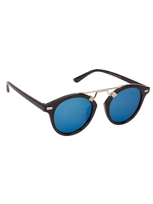 Arzonai Round Black-Blue Mirrored UV Protection Sunglasses [MA-396-S3 ] - 15420483 - Standard Image - 2
