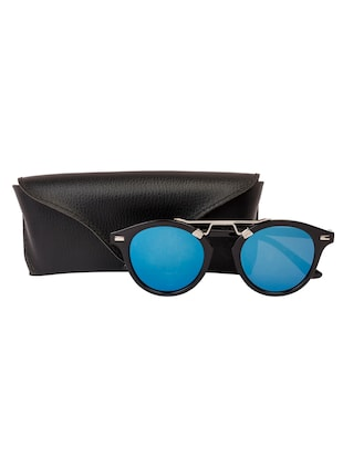 Arzonai Round Black-Blue Mirrored UV Protection Sunglasses [MA-396-S3 ] - 15420483 - Standard Image - 5