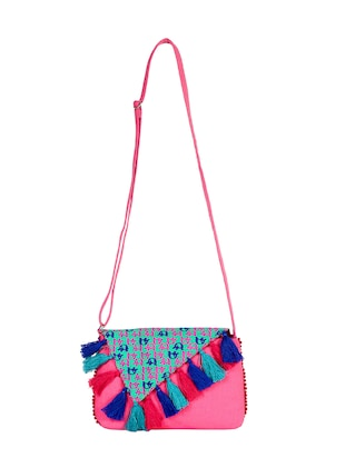 pink canvas regular sling bag - 15420998 - Standard Image - 5