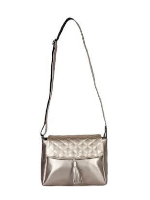 metallic leatherette (pu) regular sling bag - 15421012 - Standard Image - 5