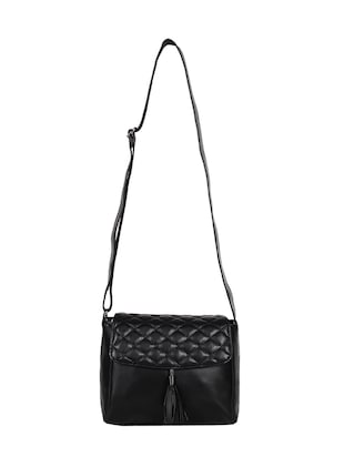 black leatherette (pu) regular sling bag - 15421013 - Standard Image - 5