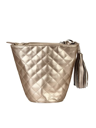 metallic leatherette (pu) regular sling bag - 15421022 - Standard Image - 2