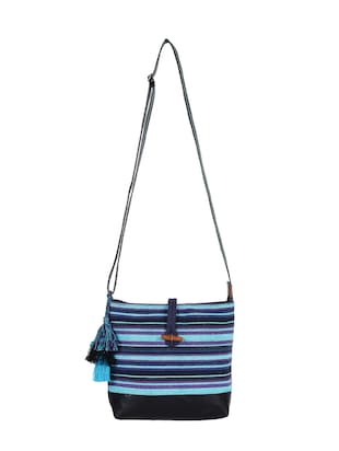 blue canvas regular sling bag - 15421026 - Standard Image - 5