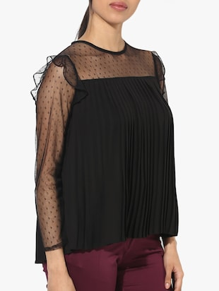 mesh yoke and sleeve pleated top - 15421704 - Standard Image - 2