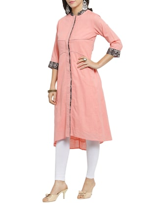 pink high-low kurta - 15421769 - Standard Image - 2