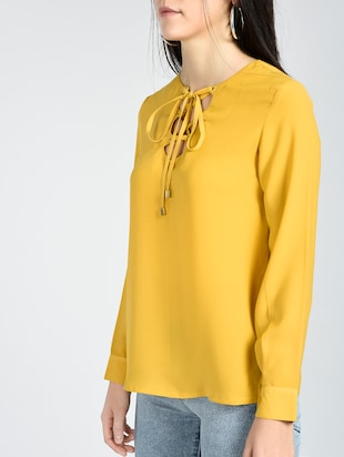 eyelet lace-up long sleeved top - 15426419 - Standard Image - 2