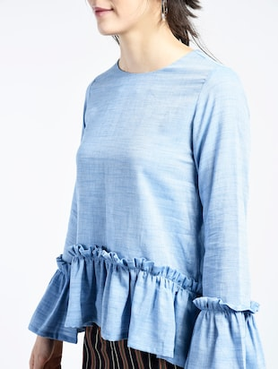 bell sleeved frill detail top - 15426427 - Standard Image - 2