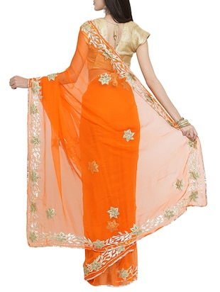 gota patti embellished saree with blouse - 15427175 - Standard Image - 2