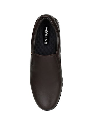 brown Leather formal slip ons - 15428063 - Standard Image - 5