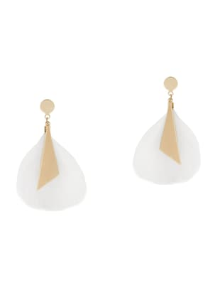 white feather drop earrings - 15429242 - Standard Image - 2