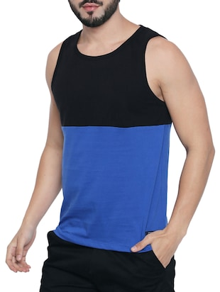 blue cotton color block  t-shirt - 15429687 - Standard Image - 2