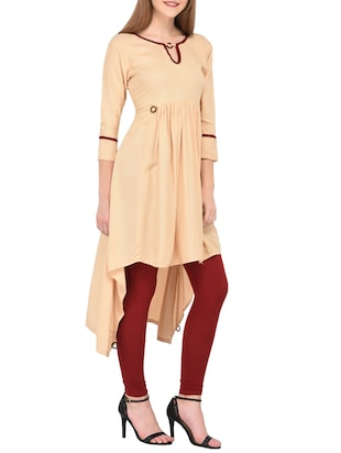 Beige high-low kurta - 15430610 - Standard Image - 2