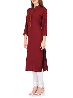straight kurta with tassels - 15430612 - Standard Image - 2