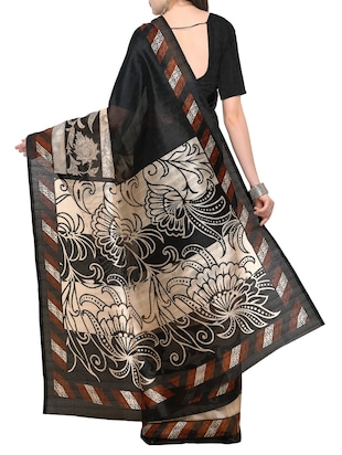 black abstract bhagalpuri saree with blouse - 15431065 - Standard Image - 2