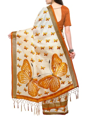 conversational beige printed saree with blouse - 15431074 - Standard Image - 2