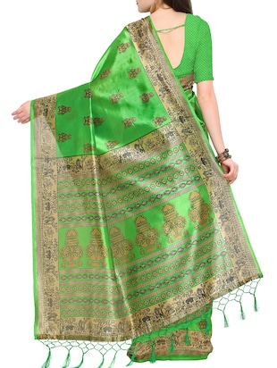 abstract printed mysore silk saree with tassels with blouse - 15431085 - Standard Image - 2