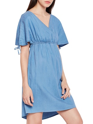 surplice neck empire-line dress - 15431166 - Standard Image - 2