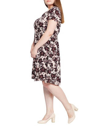 floral fit and flare plus dress - 15431170 - Standard Image - 2