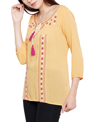 tie-up neck embroidered top - 15431321 - Standard Image - 2