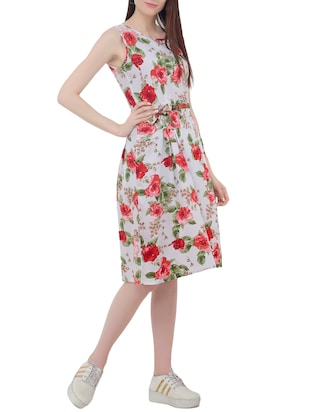 floral belted sleeveless dress - 15431749 - Standard Image - 2