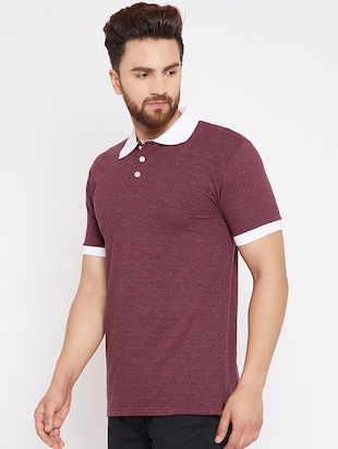 maroon cotton polo t-shirt - 15434117 - Standard Image - 2