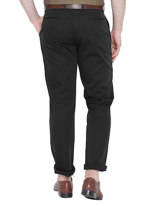 black cotton chinos casual trousers - 15434533 - Standard Image - 2