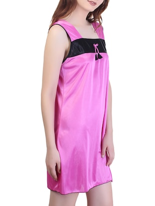 bow detail square neck short nighty - 15434614 - Standard Image - 2