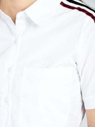 taping detail crop shirt - 15434665 - Standard Image - 5