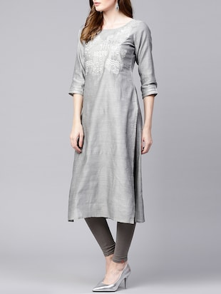straight pastels embroidered kurta - 15435926 - Standard Image - 2