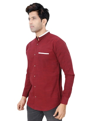 red cotton casual shirt - 15436182 - Standard Image - 2