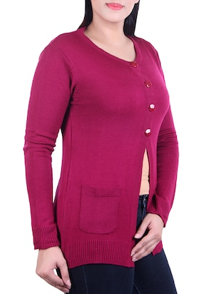 ribbed knit pocket patch cardigan - 15436216 - Standard Image - 2