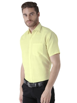 yellow khadi cotton formal shirt - 15436250 - Standard Image - 2