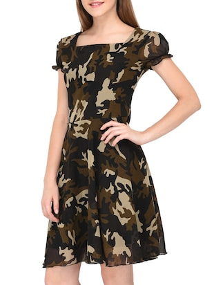 camouflage fit and flare dress - 15436294 - Standard Image - 2