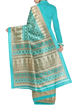 Contrast bordered printed saree with blouse - 15437025 - Standard Image - 2