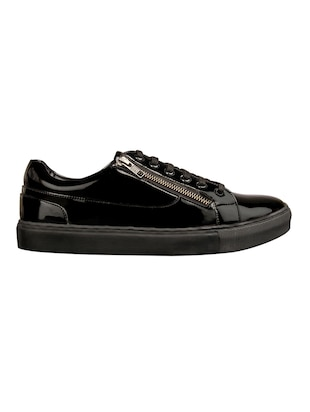black leatherette lace up sneakers - 15438485 - Standard Image - 2